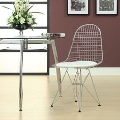 Charles Eames Wire Tower White Side Dining Chair with White Cushion