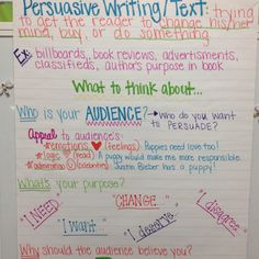 Anchor chart describing examples of persuasive writing and the importance of  thinking about your audience.