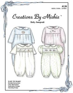 Creations By Michie' Baby Jumpsuit Sewing Pattern Childrens Sewing Patterns, Baby Knitting Patterns, Knitting Ideas, Smocking Baby, Baby Sewing Projects, Sewing Ideas, Sewing Crafts, Craft Projects, Craft Ideas