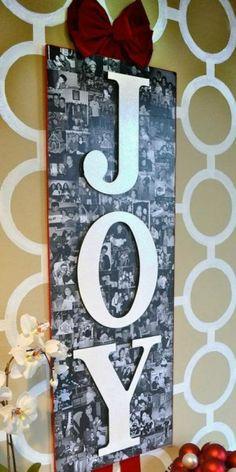 Ook mooi: een collage van foto's maken en daar houten letters overheen plakken. Erg gaaf!