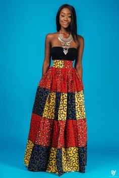 African print maxi skirt, 2 side pockets and zipper at the back. The skirt is fully lined Made with 100% cotton high quality African print wax fabric and 100% cotton lining Skirt measures 45 inches long .
