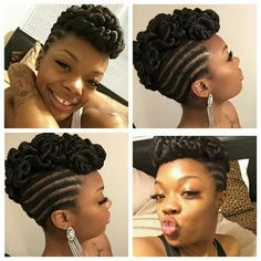 Twists and braids are one of the most loved, and used hairstyles today. Twists make it possible for you to extend your natural hair and attach almost anything you want – from high-quality commercia… Braided Mohawk Hairstyles, Mohawk Braid, African Braids Hairstyles, My Hairstyle, Twist Hairstyles, Braided Mohawk Black Hair, Natural Updo Hairstyles, Mohawk Ponytail, Cornrows Updo