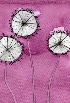 Buy 2 Get 1 FREE -- Watercolor Painting: Watercolor Flowers -- Art Print --  Pink Dandelions -- 5x7