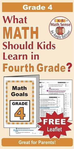 """This printable leaflet lists 60 """"I Can"""" goal statements for Grade 4. It aligns to Common Core but can be used with any math curriculum. Print just three sheets and assemble. It's a great handout for parents! ~by Angie Seltzer"""