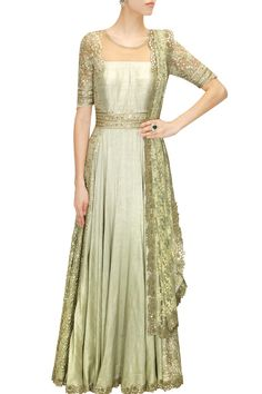 Mint green embroidered anarkali set available only at Pernia's Pop-up Shop.