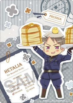 Pinner before: Prussia....hes holding pancakes.... someone ships him with Canada xD