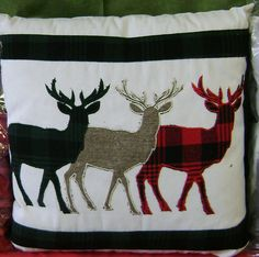 """Three Applique Reindeer on a Christmas Cushion; 17' x 17"""" with removable cover."""