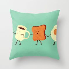 I just love this!  Idon't know what I'd do with it but the toast just looks so happy!  Let's All Go And Have Breakfast Throw Pillow