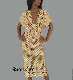 Вязаное платье - купить или заказать в интернет-магазине на Ярмарке Мастеров - 8OJFPRU. Ковров   Платье связано крючком из хлопка с вискозой.