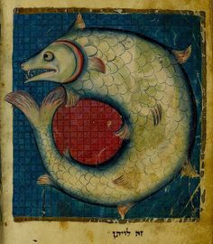 """""""This is Leviathan"""" bibical text. France 1277-86. Add 11639 BL"""