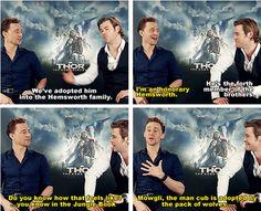 Tom Hiddleston and Chirs Hemsworth