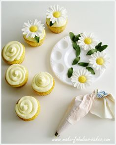 She made the daisies with gum paste for cake decorating.  I am not so hard core.  Perhaps silk flowers will do.  I love the cute swirly pattern