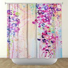 DANCE of THE SAKURA Fine Art Painting Shower by EbiEmporium, $89.00 #colorful #bathroom #bath #decor #decoration #decorative #fineart #art #abstract #homedecor #home #dorm #stylish #cheerful #painting #shower #curtain #sakura #cherry #blossom #floral #flowers #spring #pretty #feminine #pink #purple #nature #lovely #girlie #sweet #romantic