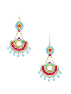 Turquoise, Fuchsia, & Yellow Fan Drop Earrings by Miguel Ases on Gilt.com