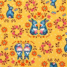 yellow flower wreath bunny oxford fabric by Kokka 1