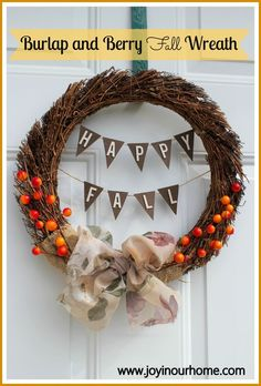 Burlap and Berry Fall Wreath www.joyinourhome.com