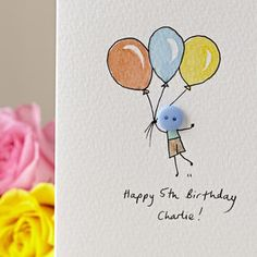 Personalised 'Floating Button' Handmade Birthday Card - birthday cards