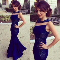 Blue Evening Dress, Mermaid Evening Dress, Sexy Evening Dresses, Long Evening Dress, Glitter Evening Gowns, Cheap Formal Dresses PD160162