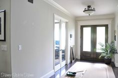 How to Paint Perfect Wide Stripes Zach and Chaille bathroom. Grey Paint Colors, Room Paint Colors, Paint Colors For Home, Wall Colors, House Colors, Gray Paint, Painting Stripes On Walls, Diy Wall Painting, Sherman Williams Agreeable Gray