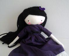 Clementine rag doll - plush toy cloth art doll purple dress