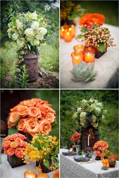 Elegant and sophisticated fall wedding centerpieces and floral displays