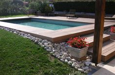 32 Amazing Small Backyard Designs Ideas With Pool Sloped Backyard, Small Backyard Pools, Small Pools, Swimming Pools Backyard, Swimming Pool Designs, Above Ground Pool, In Ground Pools, Hillside Pool, Raised Pools