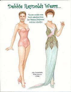 Debbie Reynolds paper doll | Debbie Reynolds, Unsinkable Molly Brown (1964)]