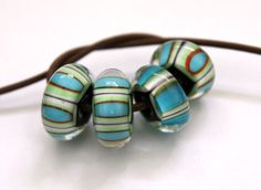 Turquoise and White Striped Glass Beads Handmade by blancheandguy, $29.50