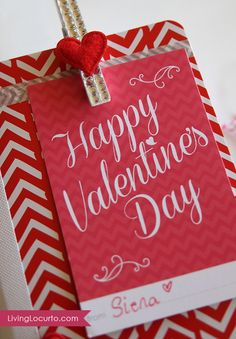Easy Valentine's Day Gift Idea with Free Printables. Tags works with Project Life Albums. LivingLocurto.com
