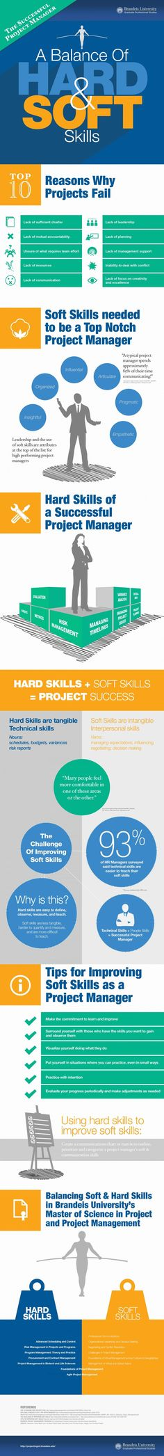 Management : The Successful Project Manager: A Balance of Hard & Soft Skills Infographic