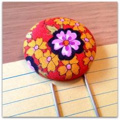 1960s Floral Orange Vintage Retro Fabric Button Giant Paper Clip Bookmark