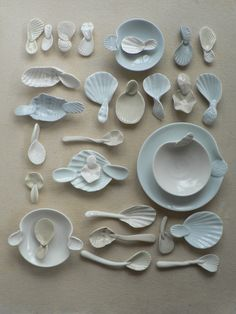 Porcelain spoons and dishes, Kaye Pemberton Porcelain Ceramics, Ceramic Pottery, Pottery Art, Ceramic Art, Pottery Handbuilding, Ceramic Spoons, Shape And Form, Miniature Fairy Gardens, Illustration Art
