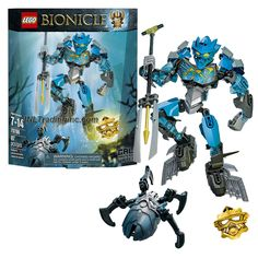 Lego Year 2015 Bionicle Series 8 Inch Tall Figure Set #70786 - GALI Master of Water with 2 Shark Fins, Convertible Harpoon/Elemental Trident, Wheel-Operated Bashing Battle Arm Function Plus Golden Mask of Water and a Silver-Colored Skull Spider (Total Pieces: 87)