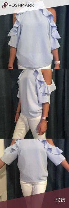 """High neck top Super cute high neck top with flattering shoulder """"cutouts"""". The back has two buttons that close up top (last photo) Topshop Tops Blouses"""