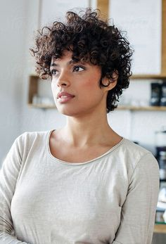 Black Pixie Cut for Thick Hair - 20 Sassy and Sexy Black Pixie Cuts - The Trending Hairstyle Curly Pixie Haircuts, Short Curly Pixie, Curly Hair Cuts, Short Hair Cuts, Curly Hair Styles, Curly Bob, Black Pixie Cut, Haircut For Older Women, Hair Trends