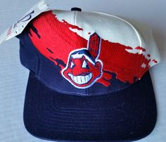 Cleveland Indians Vintage Snapback Logo Athletic Splash Hat MLB Cap NWT Rare Love Hat, Cleveland Indians, Snapback Hats, Nhl, Baseball Hats, Athletic, Logo, Vintage, Products