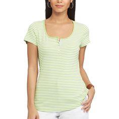 Women's Chaps Slubbed Henley, Size: XL, Green
