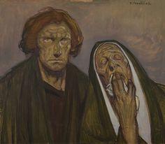 """Jean Georges CORNELIUS (1880-1963)  - """"Jean et Marie au Calvaire"""", 60x70"""