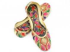 Punjabi Jutti – Multi Color Paisley Design $25.00