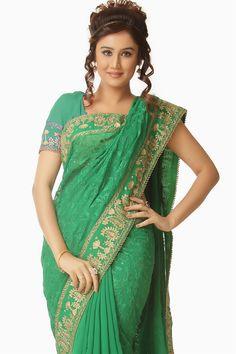 Green chiffon party wear saree