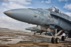 A pair of Hornets from 409 Sqn await their next flight. Military Jets, Military Weapons, Military Aircraft, Airplane Fighter, Fighter Aircraft, Fighter Jets, Canadian Army, Canadian History, Aircraft Photos