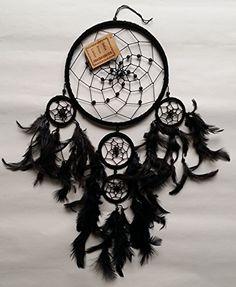 Handgefertigte wildleder traditionelle traumfänger - Groß 17cm (Schwarz)