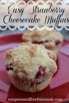 These Easy Strawberry Cheesecake Muffins are perfect for a school day. So easy to throw together and delicious they make a beautiful display for a special breakfast or just a special after school treat for the kids.