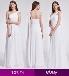 d2860ab76207f Ever-Pretty Long One Shoulder Bridesmaid Dresses White Evening Ball Gowns  09816
