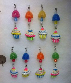 8 Mini Cupcake Gumdrop Candy Icicle Christmas Tree Ornaments