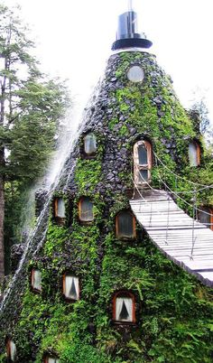 I'd like to wave hello to someone from my magic mountain window in chile…(Hotel La Montaña Mágica. Huilo-Huilo. Chile)