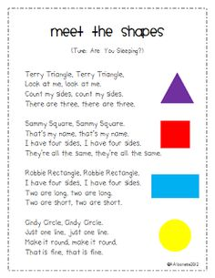 Maybe change some of the words...? Cute Meet the Shapes Song!