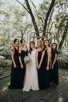 Elegant Long Black Bridesmaid Dresses