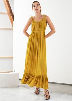 Gathered Maxi Dress - Mustard - Midi dresses - & Other Stories Yellow Maxi Dress, White Dress Summer, Summer Dresses, Midi Dresses, Formal Dresses, Portobello, Best Wedding Guest Dresses, Dress Silhouette, Fashion Story