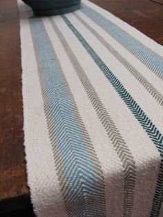 """Ivory, Beige, Turquoise, Emerald Stripe Handwoven Cotton Table Runner, Seaside Cottage, Spring, Summer Farmhouse Home Decor 8.5""""W x 72""""L on Etsy, $195.00"""